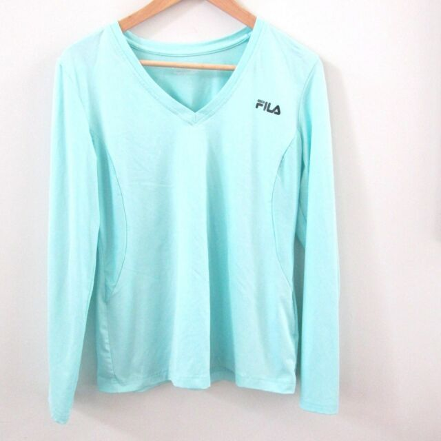 0305a748424 Fila Sport Live in Motion Womens Shirt Aqua Blue Stretch Long Sleeve Size  Large