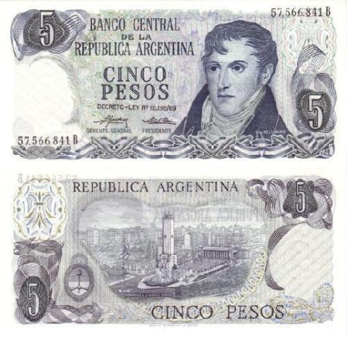 Serial B P-294 UNC Argentina  5 Pesos 1974-1976