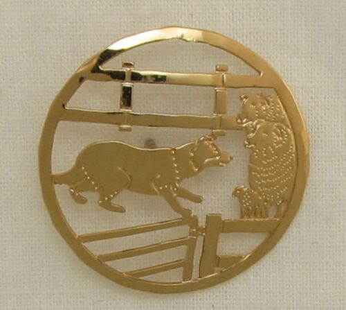 Border Collie Small Gold Pin by Touchstone Dog Desigs
