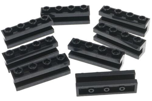 8 x Stein 1x4 mit Führungsschiene 2653 NEUWARE LEGO Nut schwarz