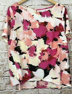 Ava-Viv-blouse-shirt-top-womens-1X-pullover-floral-short-slv-new-16W-18W-pink-B3