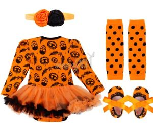 b4f488e40882 Details about 0-1 Years Baby Girls Halloween Party Costume Outfits Kids Pumpkin  Tutu Dress Set