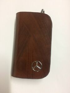 Mercedes Benz AMG Leather Car Key Keychain Fob Case Holder Zipper Cover Brown