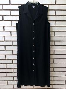 7bbf75945ac3 Chico's Shirt Dress Linen/Rayon Black Sleeveless Button Front Size 1 ...