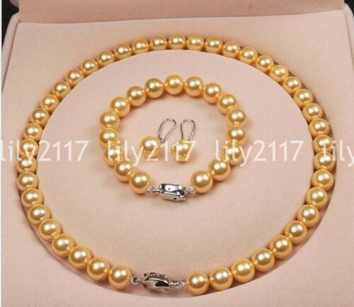 """Or 10 mm South Sea Shell Perle Collier Bracelet Boucle d/'oreille Set 18/"""" AAA"""