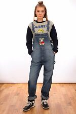 VINTAGE DENIM DUNGAREES WITH EMBROIDERED REINDEER TEDDY DETAIL BY DENVER HAYES
