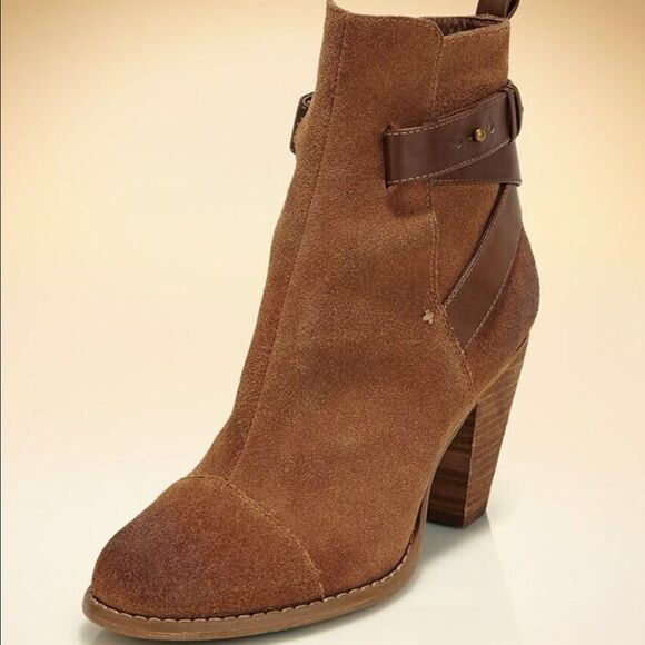 Boston Proper Suede Casual Heel Strappy Ankle Bootie Boots Cognac 149 NEW 7.5 M