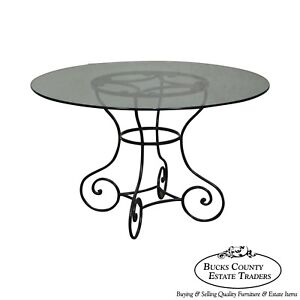 Custom Wrought Iron Base Round Glass Top Dining Table EBay - Wrought iron round glass dining table