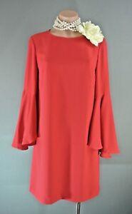 20cdcff8fa3b CATHERINE MALANDRINO Red Bell Sleeve Dress sz S-small Straight ...