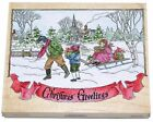 Christmas Greetings Large STAMPS Happen Wood & Foam Rubber Stamp 90043