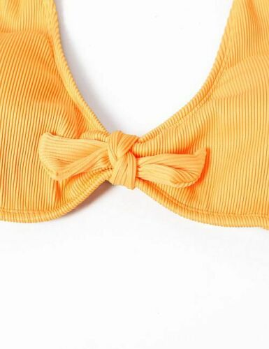 Yellow Stretch Ribbed Front Tie Bikini Top in Small Medium Large and XL