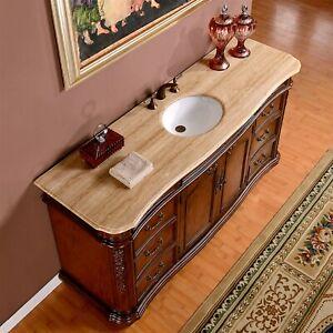 72 Inch Wide Travertine Top Large Single Sink Bathroom Vanity Cabinet 0247tr 609224901232 Ebay