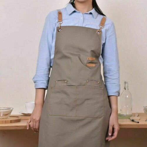 Japanese Canvas Apron with Pockets Baking Chefs Kitchen Cooking Cafe BBQ Artist
