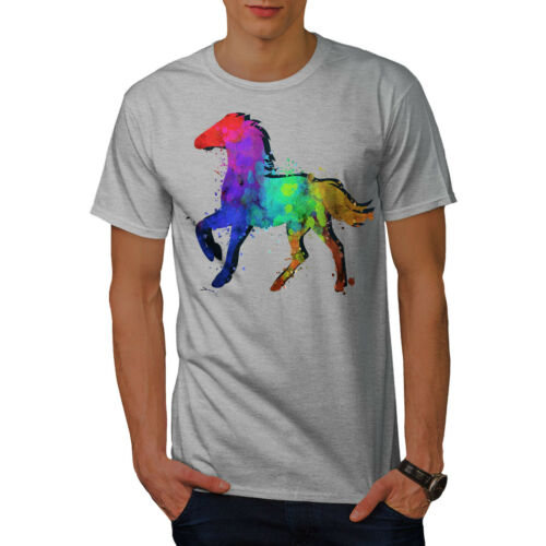 Wellcoda Splash Vernice Cavallo Da Uomo T-shirt colorante colore design grafico stampato T-shirt