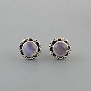 Rainbow-Moonstone-India-925-Sterling-Silver-Jewelry-Gemstone-Stud-Earring-11-M
