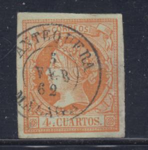 ESPANA-1860-61-USADO-SPAIN-EDIFIL-52-4-cu-ISABEL-II-LOTE-8