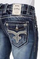 Mens Rock Revival Denim Jeans Teal Bootcut 38x34 Long