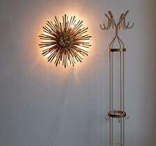 TRUE VINTAGE big antik vergoldet Holz Sonnen Lampe 50er Wandlampe 60er sunburst