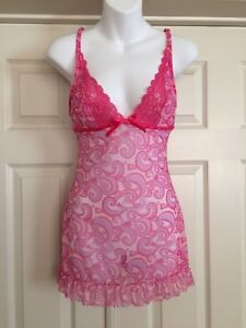 Shirley-of-Hollywood-VTG-Pink-Print-Semi-Sheer-Plunge-Pin-up-Babydoll-Chemise-S