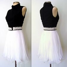 1960s Vintage 60s MOD Holly GoLightly Black & White PLEATED Mini Party Dress XS