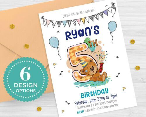Printable Personalised Boys Invitation Birthday Party Kids Teddy Bear