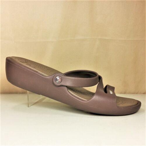 Crocs Womens Brown Rubber Platform Wedge Slip On M