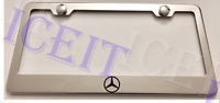 Mercedes-benz Logo Stainless Steel License Plate Frame Rust Free W/ Bolt Caps