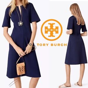 Tory-Burch-Jules-Dress-Navy-Blue-Ponte-Fit-amp-Flare-Short-Sleeve-Size-XS-0-2-NWT