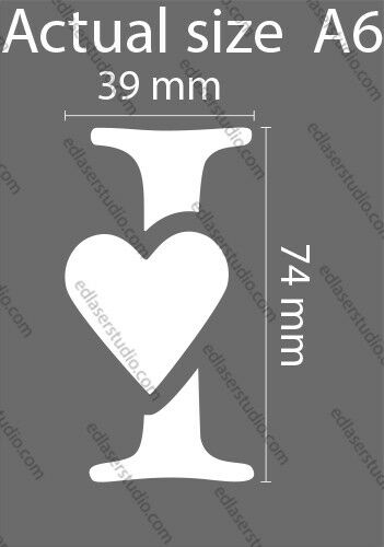 Extra Small Letter Heart Alphabet Number Wedding Card making Paint Crafts AL16