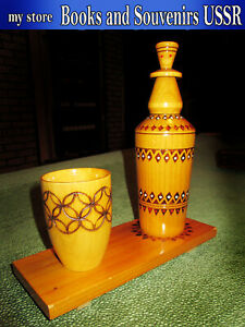 Vintage-wooden-bottle-mug-and-stand-of-the-1970s-USSR-height-23-cm