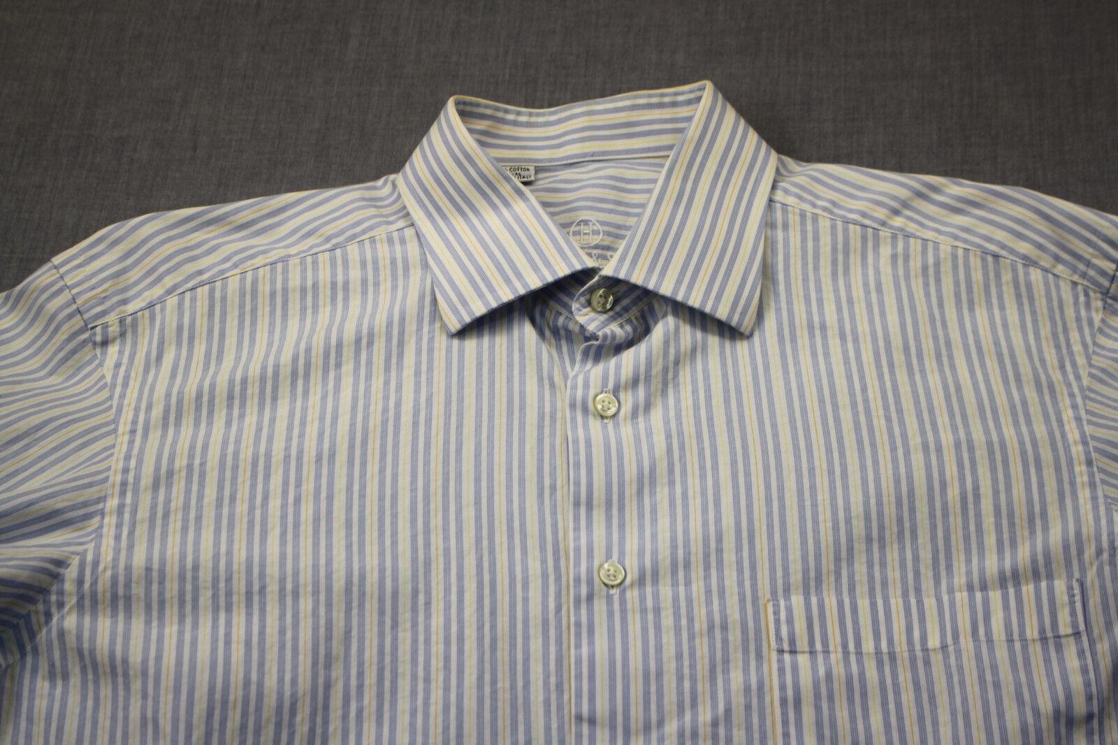 Harry & Sons Made  männer Blau Weiß Gelb Stripe Dress hemd NEW 41 16 32 33