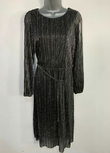 WOMENS-MONSOON-SIZE-UK-12-BLACK-amp-SILVER-LONG-SLEEVE-STRETCH-OCCASION-MAXI-DRESS