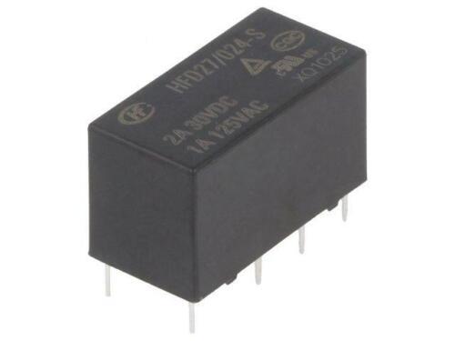 HFD27//024-S Relé electromagnético Interruptor DPDT Ucoil 24VDC 1A//125VAC 2A//30VDC