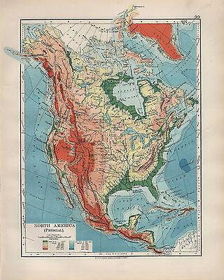1904 Antiguo Mapa America Del Norte Fisico Montanas Rocosas