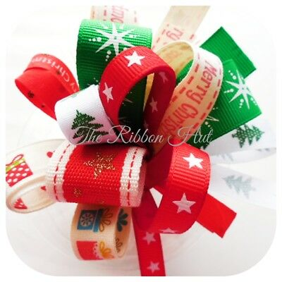"5 Metre /'s Merry Christmas Print 10mm 3//8/"" Width Grosgrain Ribbon Craft Xmas"