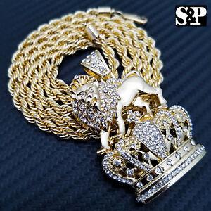 """Complet Iced Out Hip Hop Rapper's Roi Lion Couronne Pendentif Avec 5 Mm 30"""" Corde Chaîne-afficher Le Titre D'origine"""