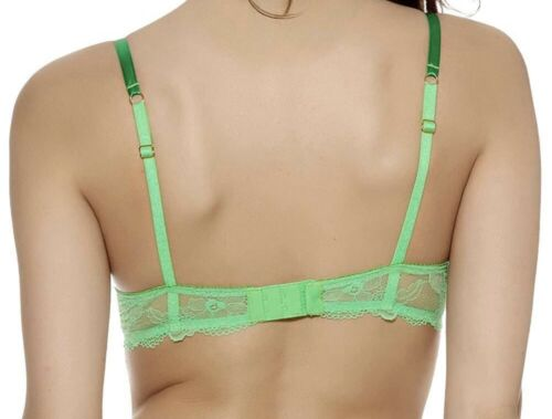 Wacoal Marquise Bra Green Size 34D Underwired padded Push Up Contour Lace 101003