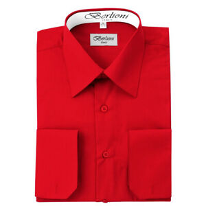 Berlioni-Italy-Men-039-s-Convertible-Cuff-Solid-Italian-French-Dress-Shirt-Red