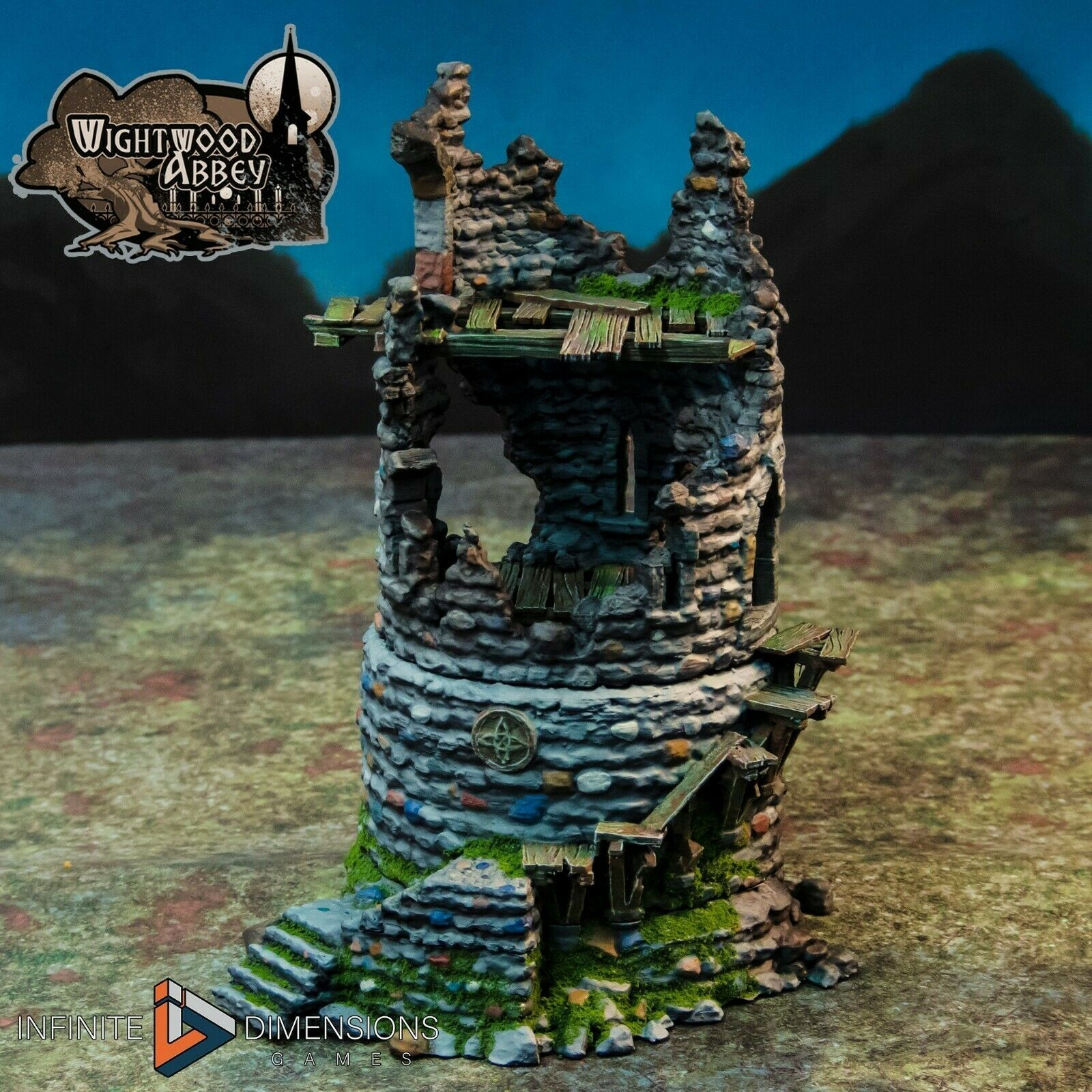 Wightwood Abbey Medieval Ruined Rookery Castle Tower Tabletop Terrain War Games