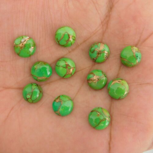 GTL CERTIFIED 6x6 mm Round Green Copper Turquoise Cabochon Loose Gemstone 10 pc