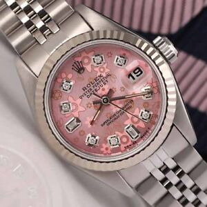 Details About Rolex 26mm Datejust Pink Flower 8 2 Diamond Dial 18k Fluted Ladies Ss Watch