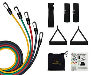 RESISTANCE-BANDS-11-PCS-FITNESS-EXERCISE-LATEX-TUBE-USE-FR-YOGA-WORKOUT-ABS-P90X