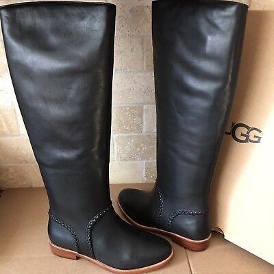43870f1bc20 UGG Gracen Whipstitch Black Ltr Knee High Tall Equestrian Boot Size 6.5  Womens | eBay
