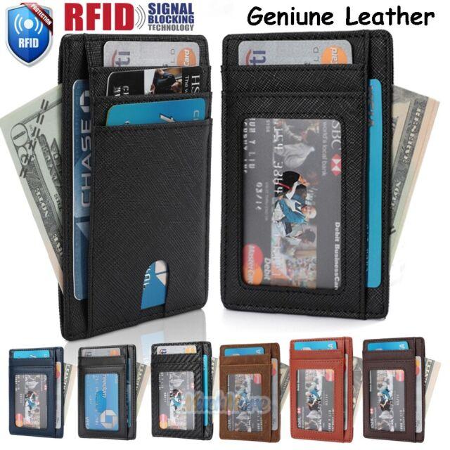 7a5edef9f7c5 Mens Genuine Leather Money Clip RFID Blocking ID Card Front Pocket Slim  Wallet