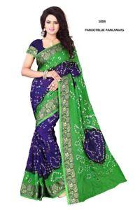 Readymade art silk cotton Saree Indian  bandhani saree