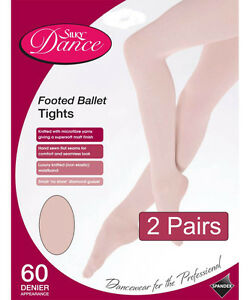 2-Pairs-Silky-Childrens-Girls-Full-Foot-Dance-Ballet-Tights-White-Pink-2-Pairs