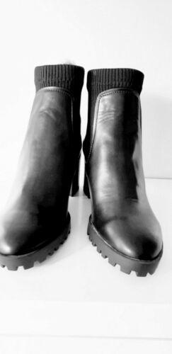 ZARA BLACK HEELED TRACK SOLE SOCK-STYLE ANKLE BOOTS  NEW SIZES 4/&6/&7 EU 37/&39/&40