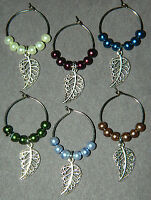 Set Of 6 Pearl Silver Leaves Wine Glass Charms Markers Leaf Feather