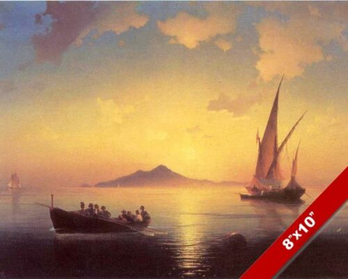 SHIPS IN BAY OF NAPLES NAPOLI ITALY SAILBOAT SEASCAPE PAINTING ART CANVAS PRINT
