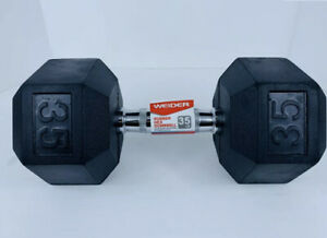 Weider 35 LB Rubber Hex Dumbbell New Free Shipping 1